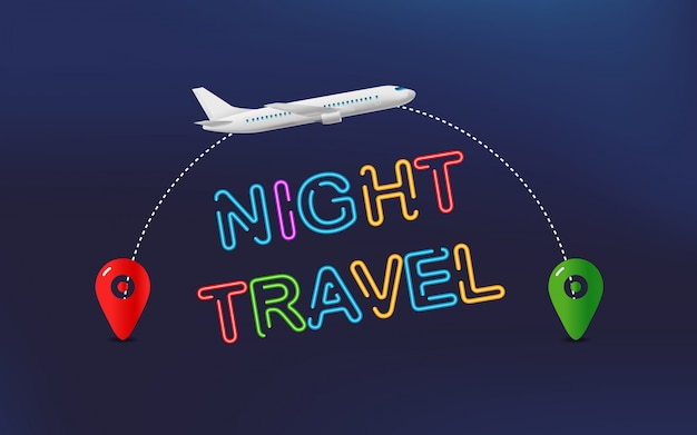 Night travel. travel banner with aircraft and destination pin