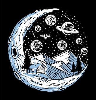 Ночной вид на гору иллюстрации