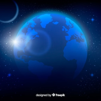 Night view of planet earth with realistic design