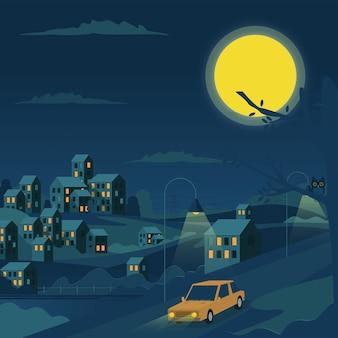 Night village witn moon