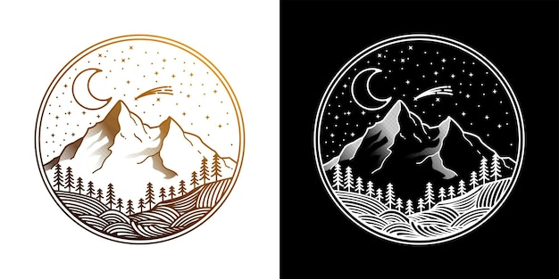 Night vintage mountain logo design