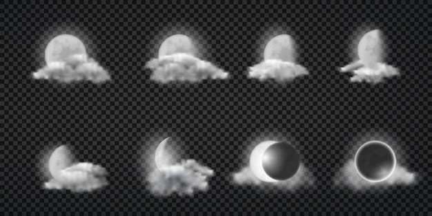 Night weather forecast realistic vector icons set