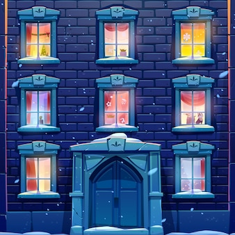 Night windows of house or castle with christmas and new year decoration