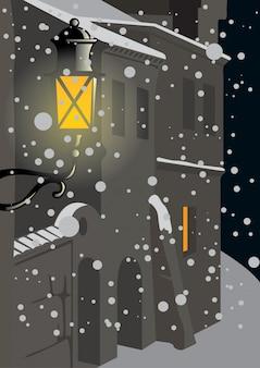 夜の冬の街と光るランタン