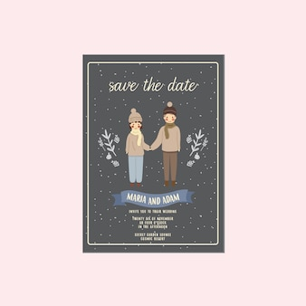 Night winter couple illustration save the date invitation