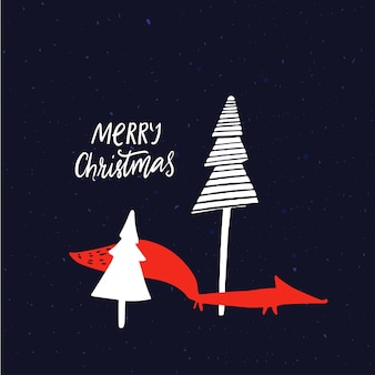 Night winter forest landscape with spruces and orange fox modern christmas card design