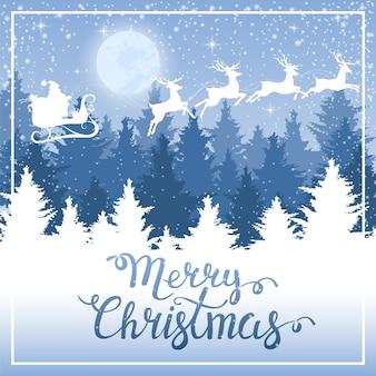 夜の冬の森。レタリングとメリークリスマスカード。鹿とそりでサンタクロース。新年の背景。