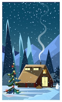 Night winter landscape with house and decorated fir-tree