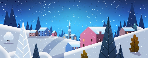 Night winter village houses mountains hills landscape snowfall