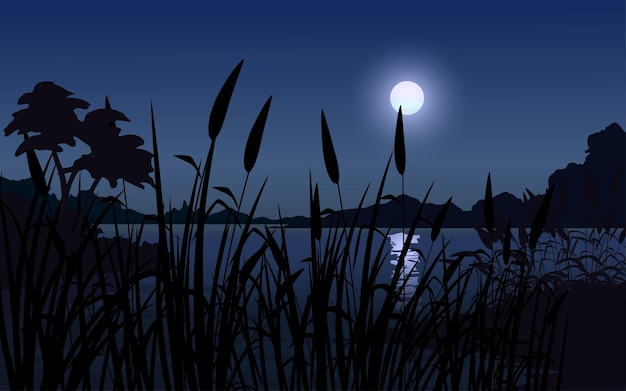 달 잔디 나무 실루엣과 호수와 밤