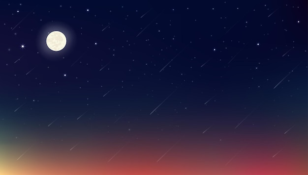 Night with  moon, stars with blue, purple and orange sky.