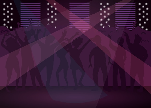 Nightclub flat color illustration
