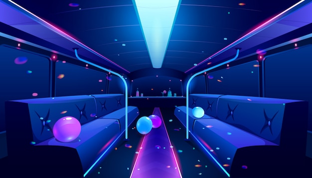 Nightclub interior in party bus