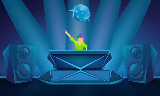 Nightclub party concept illustration, cartoon style