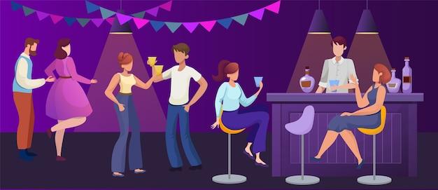 Ночной клуб вечеринка плоская иллюстрация