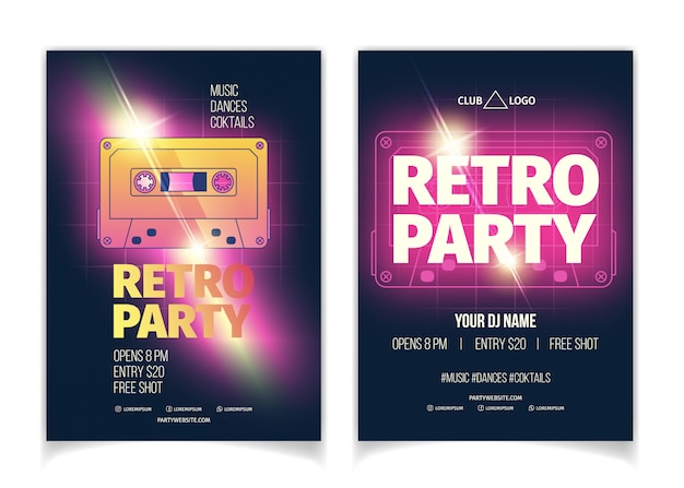 Nightclub retro music party poster or flyer template cartoon vector advertising