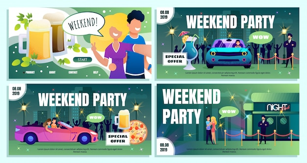 Nightclub weekend special offer ad banners set
