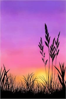 日暮れの空の水彩イラスト
