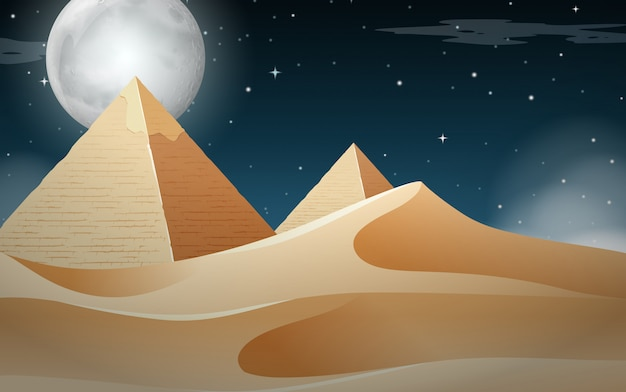 Nightime pyramid desert scene