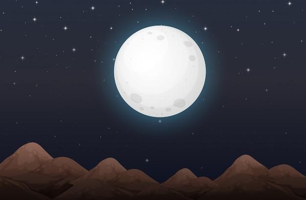 Nightime with moon scene