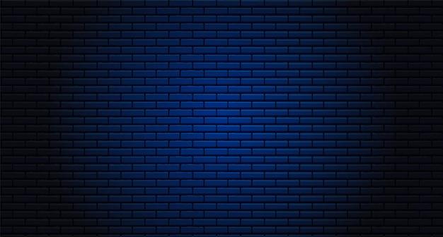 야간 벽돌 벽. 네온 불빛에 대 한 배경입니다. 개념 어두운 벽돌 벽 텍스트 장소, 벽돌 세공 메시지 배경 영역. 벡터 일러스트 레이 션.