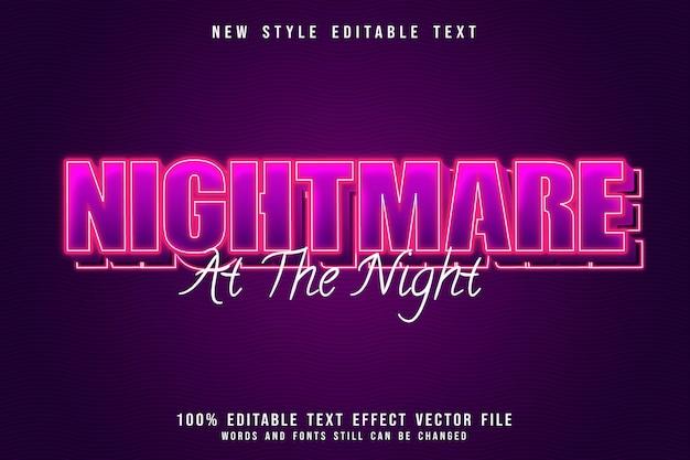 Кошмар ночью редактируемый текстовый эффект 3-мерное тиснение в неоновом розовом стиле