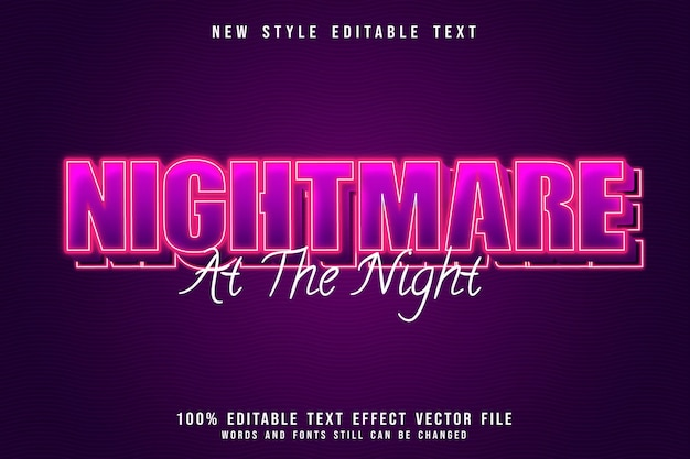 Nightmare at the night editable text effect 3 dimension emboss neon pink style