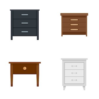 Nightstand bedside icons set flat style