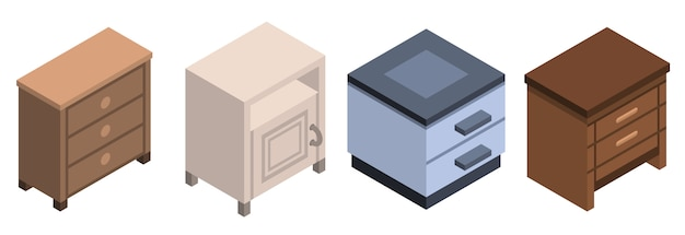 Nightstand furniture icon set