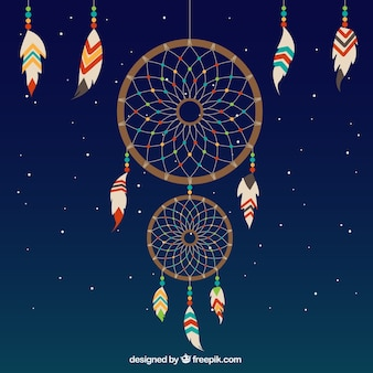 Nighttime background with dreamcatcher