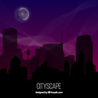 Città di notte silhouette sfondo