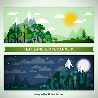 Nighttime and daytime landscape banners in flat design