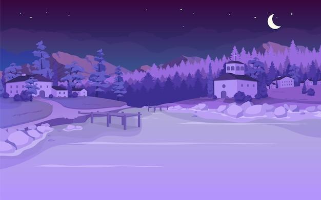 村の夜の湖フラットカラーイラスト