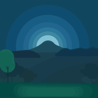 Nighttime mountain landscape