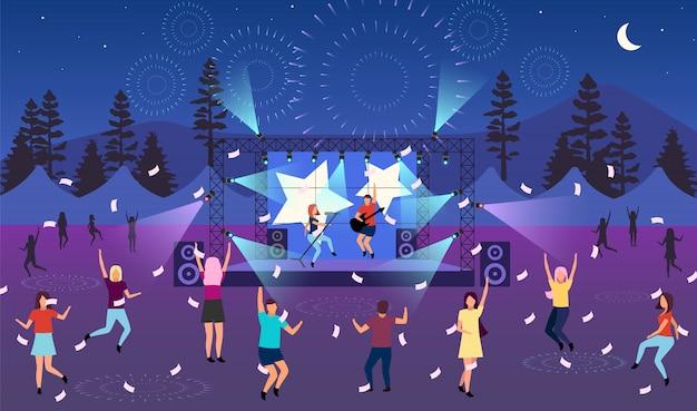 야간 음악 축제 그림. 야외 라이브 공연. 록, 팝 뮤지션 콘서트, 파티 공원, 캠프. 여름철 즐거운 야외 활동. 춤추는 만화 캐릭터
