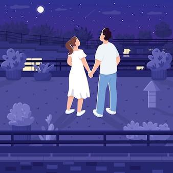 Ночная дата на крыше плоского цвета. пара подростков, смотрящих на звезды. мужчина и женщина, взявшись за руки. высотный полуночный 2d-мультяшный пейзаж на крыше с персонажем на фоне