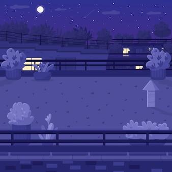 Ночная крыша плоская цветная иллюстрация Premium векторы