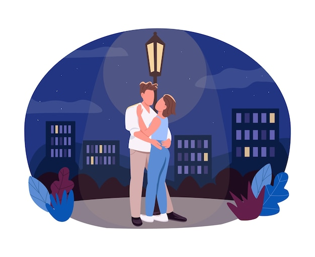 Ночная прогулка 2d веб-баннер, плакат. парень обнять подругу под фонарем. пара плоских персонажей на фоне мультфильма. патч для печати на полуночное романтическое свидание, красочный веб-элемент
