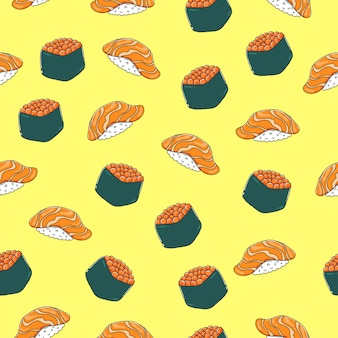 Nigiri sushi seamless pattern with outline.