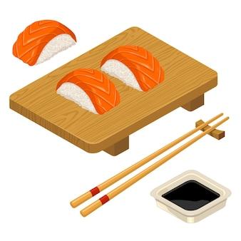 Нигири суши с рыбными палочками соевого соуса в миске и деревянной доске плоский цветной значок вектора