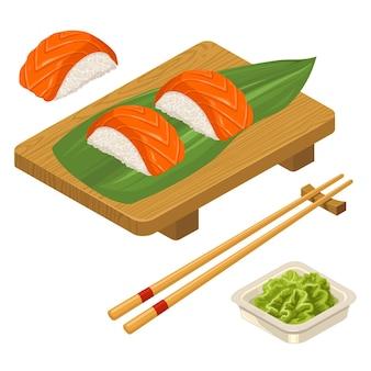 Nigiri sushi with leaf fish chopsticks wasabi in bowl and wood board vector flat color icon