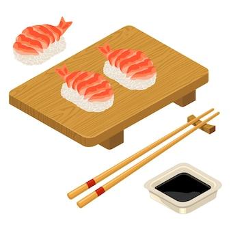 Нигири суши с соевым соусом палочки для еды креветок в миске и деревянной доске плоский цветной значок вектора