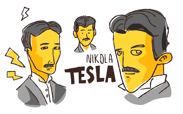 Nikola tesla in yellow and black sketch