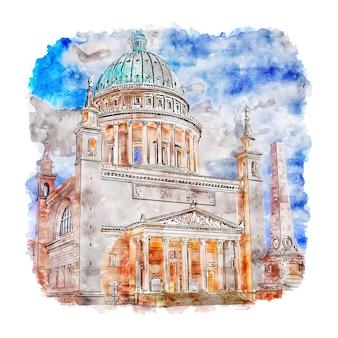 Nikolaikirche 포츠담 수채화 스케치 손으로 그린 그림