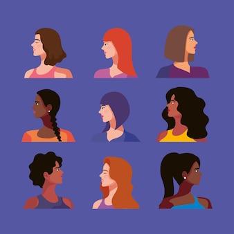 9人の美しい女性キャラクター