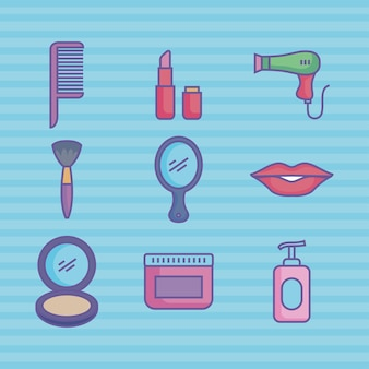 Nine beauty products icons