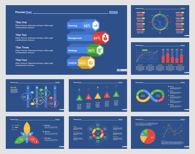 Nine business slide templates set