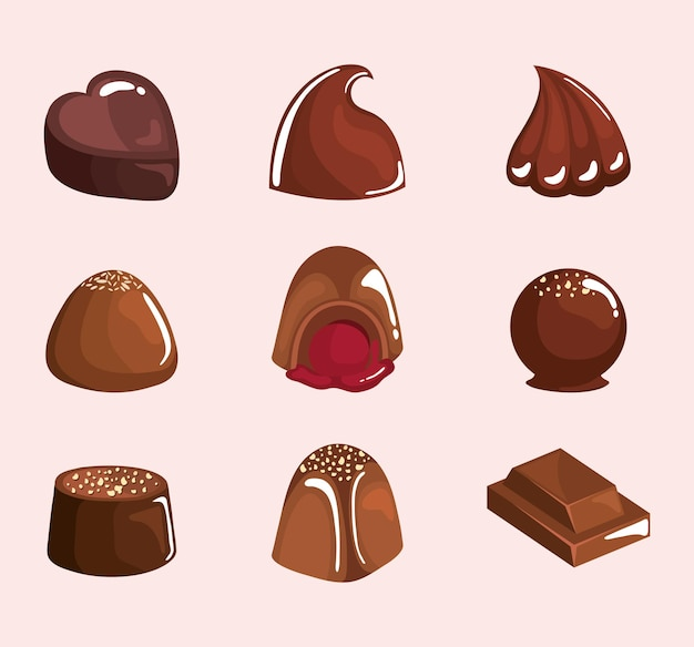 Nine chocolate products clip-art