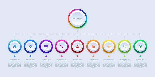 9つの円のステップビジネスインフォグラフィック