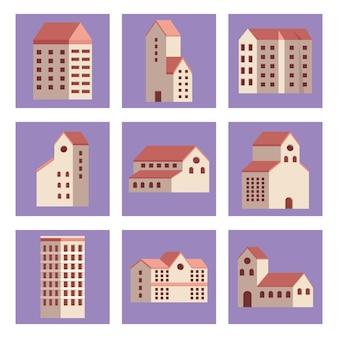 Nine city buildings set icons